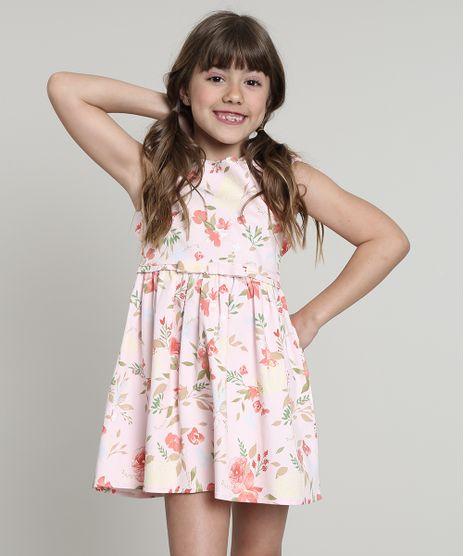 Vestido-Infantil-Estampado-Floral-com-Vazado-e-Laco-Sem-Manga-Rosa-Claro-9569530-Rosa_Claro_1