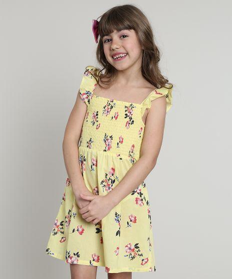 Vestido-Infantil-Estampado-Floral-com-Babado-Sem-Manga-Amarelo-9617662-Amarelo_1