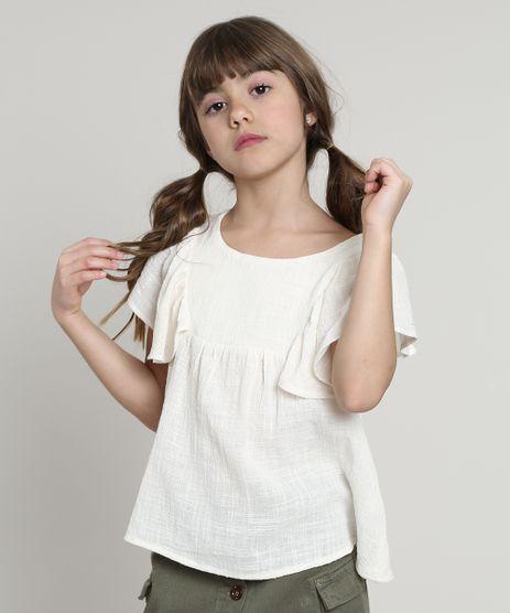 Blusa-Infantil-Texturizada-com-Vazado-e-Babado-Manga-Curta-Off-White-9569532-Off_White_1