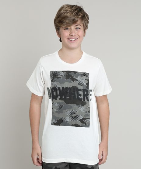 Camiseta-Infantil--Nowhere--com-Estampa-Camuflada-Manga-Curta-Off-White-9660724-Off_White_1