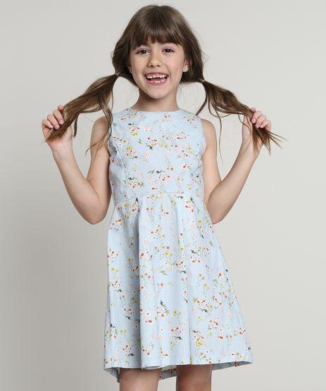 Vestido-Infantil-Estampado-Floral-com-Pregas-Sem-Manga-Azul-Claro-9662524-Azul_Claro_1
