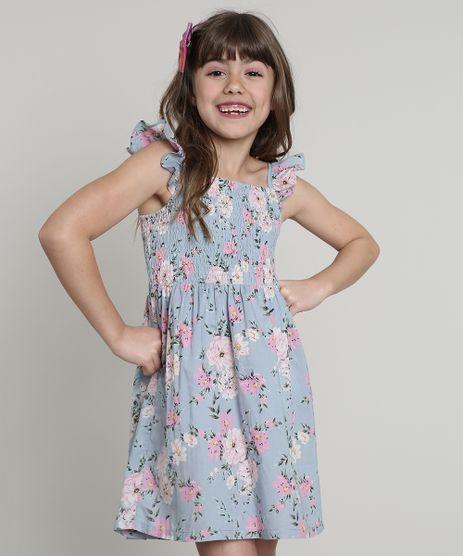 Vestido-Infantil-Estampado-Floral-com-Babado-Sem-Manga-Azul-9560186-Azul_1