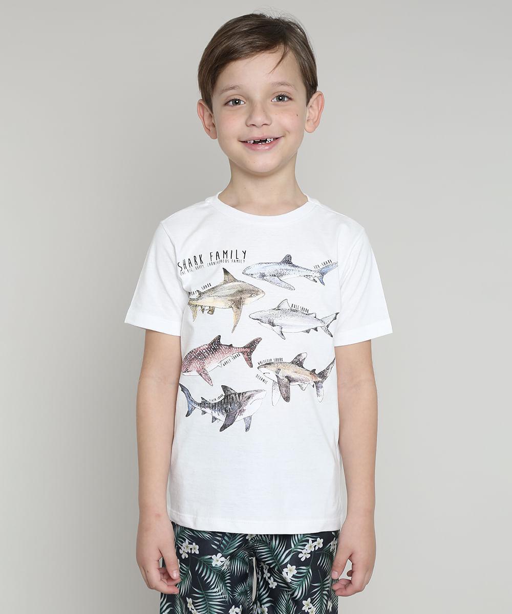 Camiseta Infantil Tubarão Manga Curta Off White