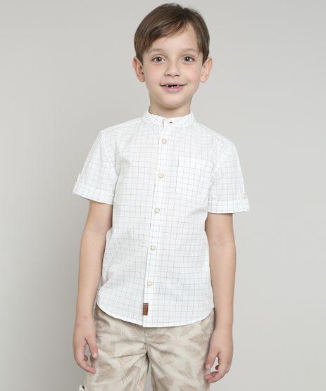 Camisa-Infantil-Estampada-Xadrez-com-Bolso-Manga-Curta-Gola-Portuguesa-Off-White-9545414-Off_White_1