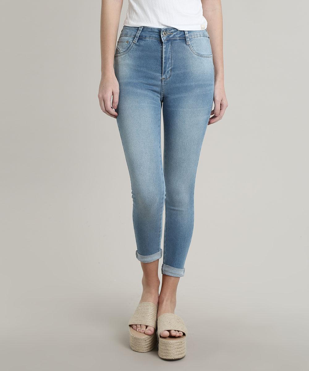 Calça Jeans Feminina Sawary Skinny Pull up Azul Claro