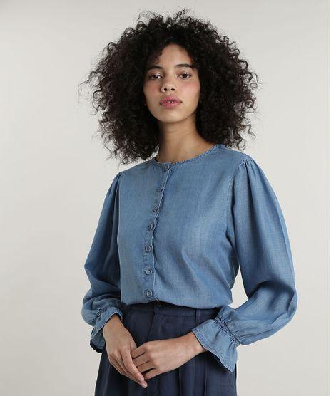 Camisa-Jeans-Feminina-Mindset-Manga-Bufante-Decote-Redondo-Azul-Claro-9707554-Azul_Claro_1