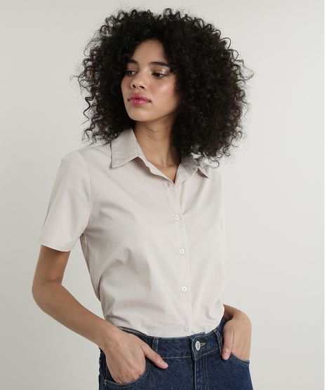 Camisa-Feminina-Mindset-Ampla-Manga-Curta-Kaki-9677116-Kaki_1