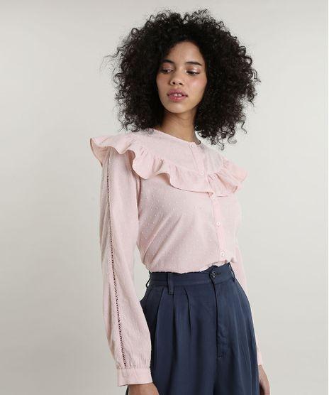 Camisa-Feminina-Mindset-Texturizada-com-Babado-Manga-Longa-Decote-Redondo-Rose-9797402-Rose_1