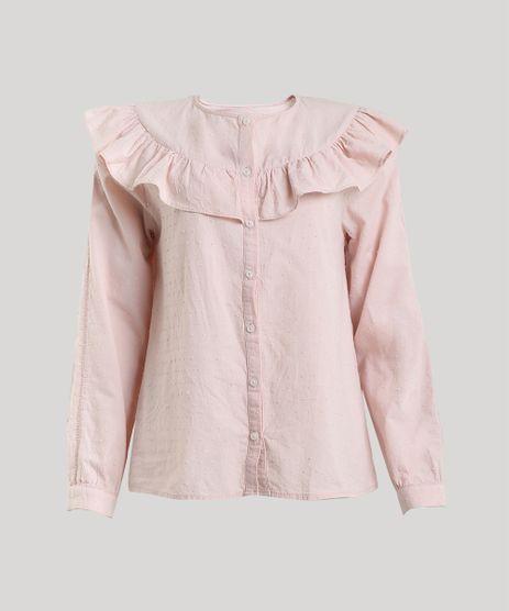 Camisa-Feminina-Mindset-Texturizada-com-Babado-Manga-Longa-Decote-Redondo-Rose-9797402-Rose_5