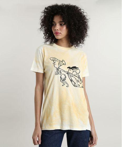 T-Shirt-Feminina-Mindset-Flintstones-Estampada-Tie-Dye-Manga-Curta-Decote-Redondo-Amarela-9803338-Amarelo_1