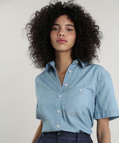 Camisa-Jeans-Feminina-Mindset-com-Bolso-Manga-Curta-Azul-Claro-9661010-Azul_Claro_1