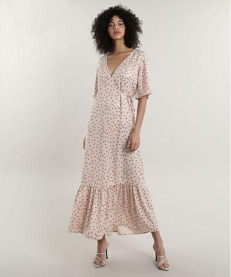 Vestido-Feminino-Mindset-Longo-Envelope-Acetinado-Estampado-de-Poa-Manga-Curta-Bege-Claro-9707559-Bege_Claro_1