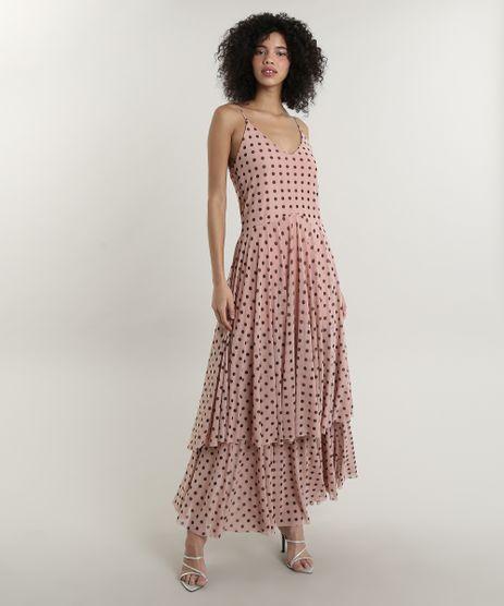 Vestido-Feminino-Longo-Mindset-Estampado-de-Poa-em-Camadas-Alcas-Finas-Rose-9758917-Rose_1