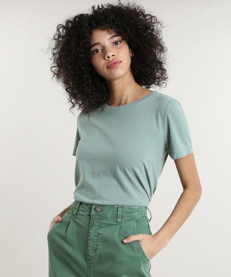 T-Shirt-Feminina-Mindset-Manga-Curta-Decote-Redondo-Verde-9807722-Verde_1