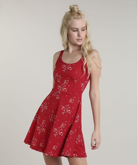 Vestido-Feminino-Curto-Evase-Estampado-Floral-Alca-Media-Vermelho-9708663-Vermelho_1