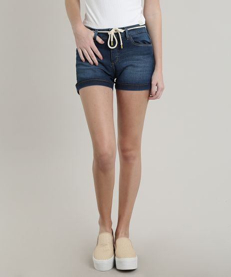 Short-Jeans-Feminino-Reto-com-Barra-Dobrada-e-Cinto-Azul-Medio-9709483-Azul_Medio_1