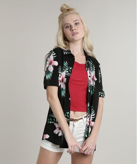 Camisa-Feminina-Estampada-Floral-com-Fenda-Manga-Curta-Preta-9644892-Preto_1