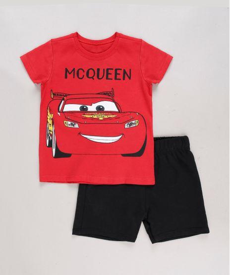 Conjunto-Infantil-Carros-de-Camiseta-Manga-Curta-Vermelha---Bermuda-em-Moletom-Preta-8664325-Preto_1