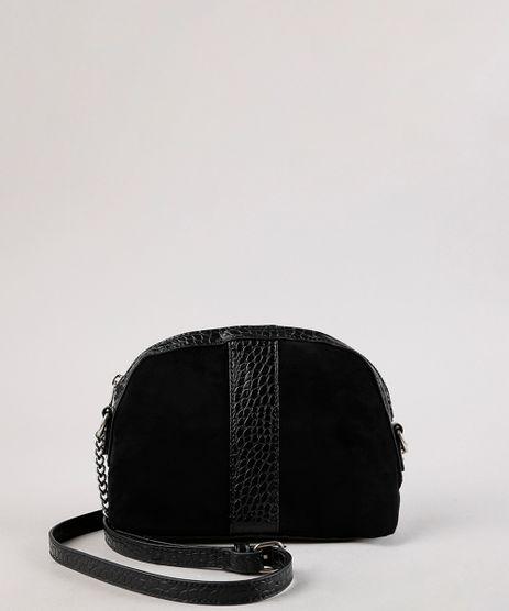 Bolsa-Feminina-Transversal-Pequena-em-Suede-com-Recortes-Preta-9604667-Preto_1