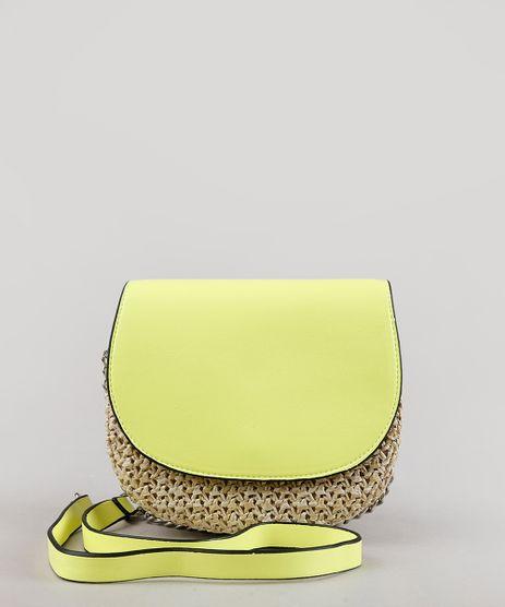 Bolsa-Feminina-Transversal-Pequena-com-Palha-e-Alca-Corrente-Verde-Neon-9604666-Verde_Neon_1