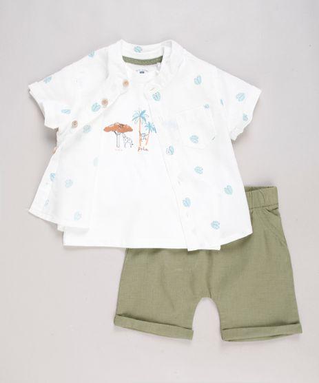 Conjunto-Infantil-de-Camiseta-Manga-Curta---Camisa-Estampada-de-Folhagem-Manga-Curta-Off-White---Bermuda-com-Linho-Verde-9574525-Verde_1