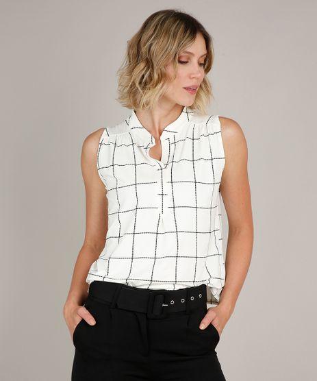 Regata-Feminina-Estampada-Quadriculada-com-Franzido-Decote-V-Off-White-9681737-Off_White_1