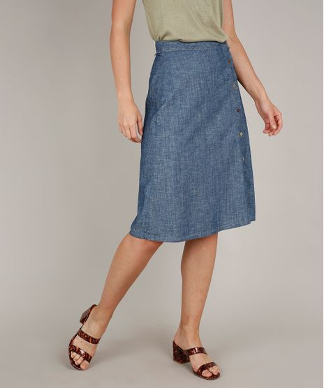 Saia-Jeans-Feminina-Midi-Evase-com-Fenda-Azul-Medio-9709659-Azul_Medio_1