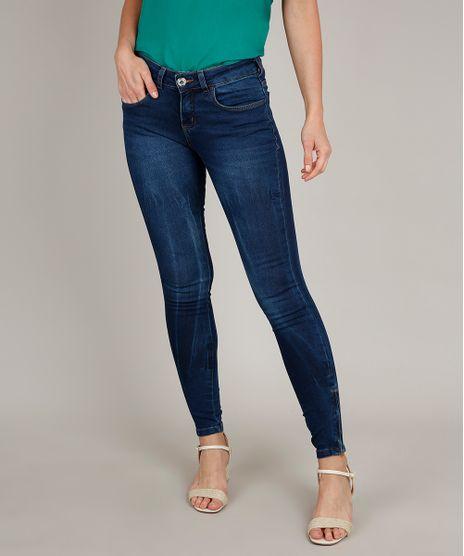Calca-Jeans-Feminina-Super-Skinny-com-Ziper-na-Barra-Azul-Escuro-9689842-Azul_Escuro_1