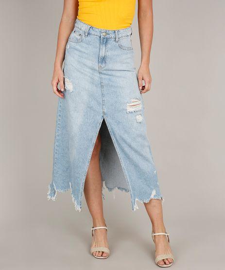 Saia-Jeans-Feminina-Longa-Destroyed-com-Fenda--Azul-Claro-9740845-Azul_Claro_1