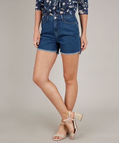 Short-Jeans-Feminino-Mom-Cintura-Alta-com-Barra-Desfiada-Azul-Escuro-9662969-Azul_Escuro_1