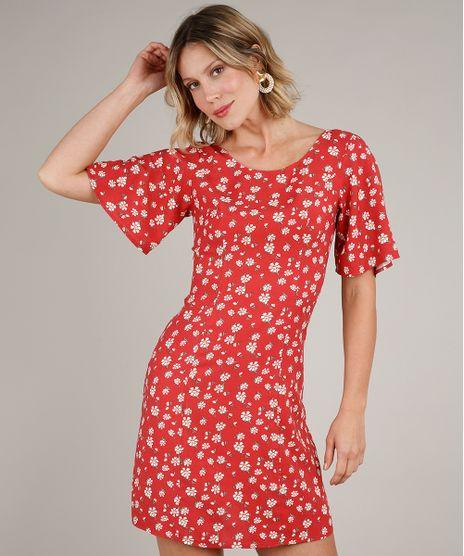 Vestido-Feminino-Curto-Estampado-Floral-com-Tiras-Manga-Curta-Vermelho-9637254-Vermelho_1