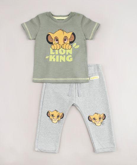 Conjunto-Infantil-O-Rei-Leao-de-Camiseta-Manga-Curta-Verde---Calca-Cinza-Mescla-9704708-Cinza_Mescla_1