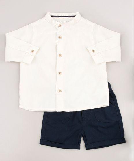 Conjunto-Infantil-de-Camisa-Manga-Longa-Bege-Claro---Bermuda-em-Sarja-Azul-Marinho-9676967-Azul_Marinho_1