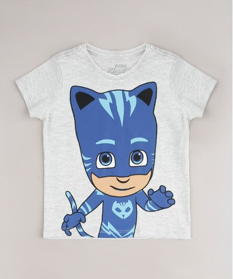 Camiseta Infantil Pj Masks Gato Manga Curta Cinza Mescla Claro Cea