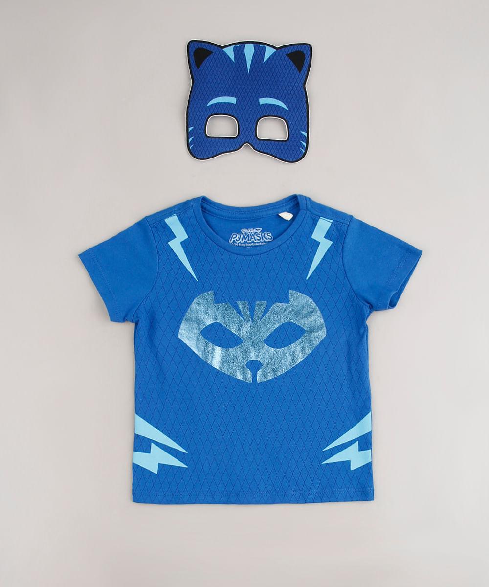 Camiseta Infantil Carnaval Estampada Pj Masks Gato Manga Curta + Máscara Azul