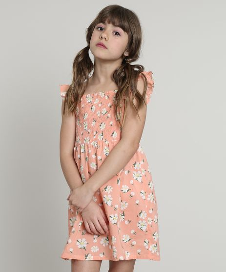 Vestido-Infantil-Estampado-Floral-com-Babado-Sem-Manga-Coral-9560187-Coral_1
