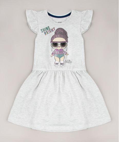 Vestido-Infantil-Lol-Surprise-com-Babado-Sem-Manga-Cinza-Mescla-Claro-9680993-Cinza_Mescla_Claro_1