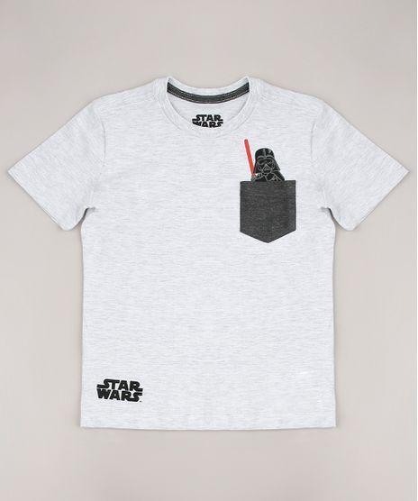 Camiseta-Infantil-Star-Wars-com-Bolso-Manga-Curta-Cinza-Mescla-Claro-9727885-Cinza_Mescla_Claro_1