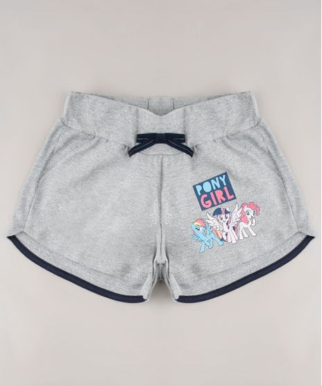 Short-Infantil-em-Moletom-My-Little-Poney-com-Laco-Cinza-9675152-Cinza_1