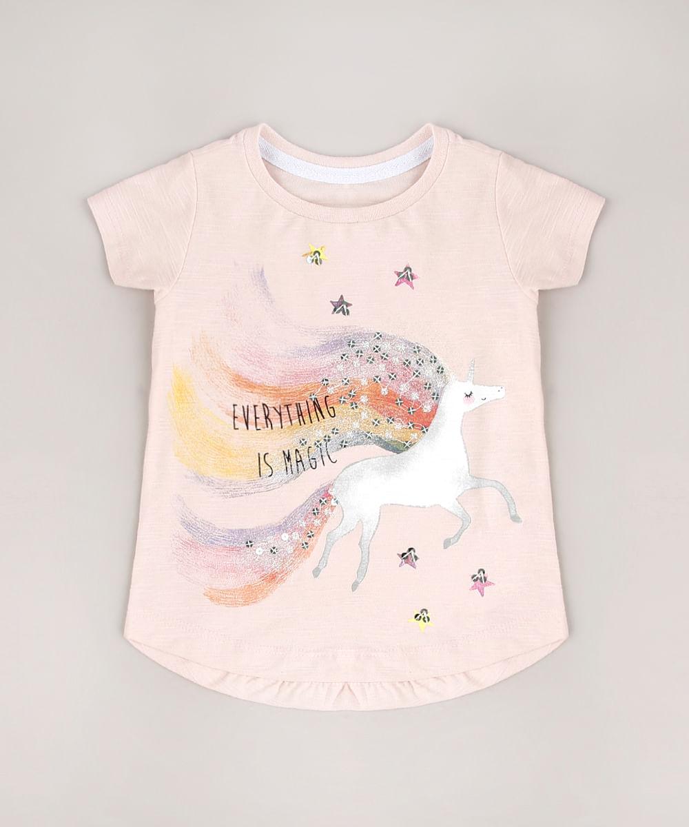 Blusa Infantil Unicórnio com Paetê Manga Curta Rosê