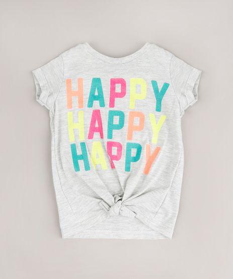 Blusa-Infantil--Happy--com-Glitter-e-No-Manga-Curta-Cinza-Mescla-9678622-Cinza_Mescla_1