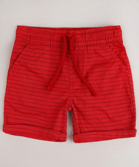 Bermuda-de-Sarja-Infantil-Listrada-com-Cordao-e-Bolsos-Vermelho-9684472-Vermelho_1
