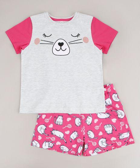 Pijama-Infantil-Gatinho-Estampado-Manga-Curta--Cinza-Mescla-Claro-9641228-Cinza_Mescla_Claro_1