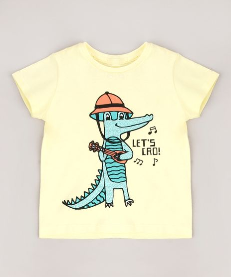 Camiseta-Infantil-Crocodilo--Let-s-Cro--Manga-Curta-Amarelo-Claro-9664951-Amarelo_Claro_1
