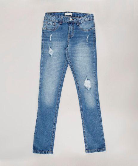Calca-Jeans-Infantil-Skinny-Destroyed-com-Bolsos--Azul-Medio-9672126-Azul_Medio_1