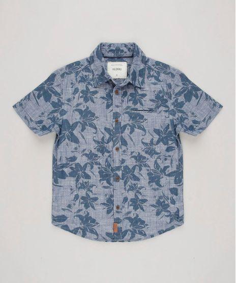 Camisa-Infantil-Estampada-de-Folhagens-com-Bolso-Manga-Curta-Azul-Marinho-9545237-Azul_Marinho_1