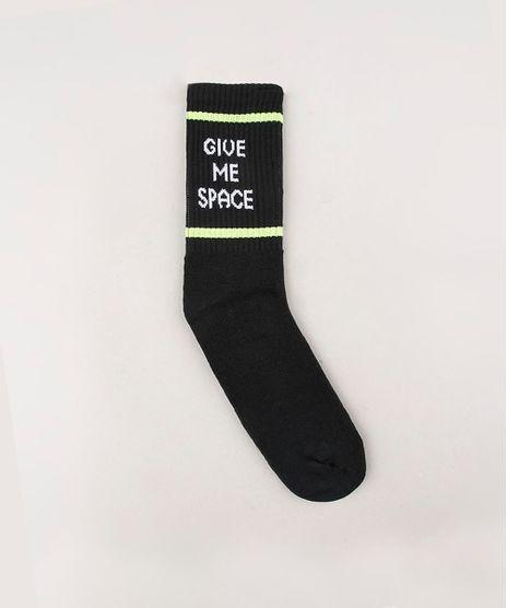 Meia-Masculina-Cano-Alto-Divertida--Give-me-Space--Preta-9636339-Preto_1