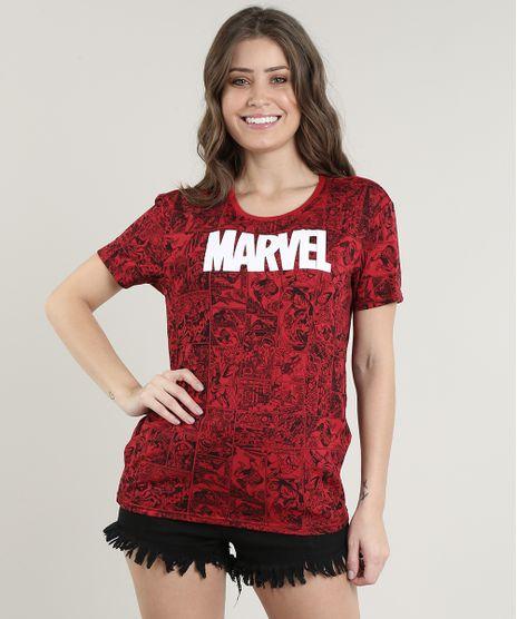 Blusa-Feminina-Marvel-Homem-Aranha-Estampada-de-Quadrinhos-Manga-Curta-Decote-Redondo-Vermelha-9701822-Vermelho_1