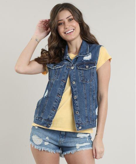 Colete-Jeans-Feminino-Destroyed-com-Bolsos-Azul-Medio-9664651-Azul_Medio_1