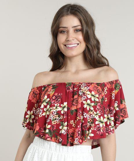 Blusa-Feminina-Ciganinha-Cropped-Estampada-Floral-Manga-Curta-Vermelha-Escuro-9708499-Vermelho_Escuro_1